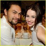 Jason Momoa (Khal Drogo) and Emilia Clarke (Daenerys Targaryen).